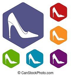 talon, hexagone, élevé, ensemble, chaussure, icônes