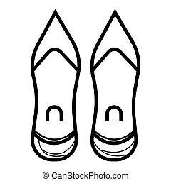 talon, icon., élevé, chaussure