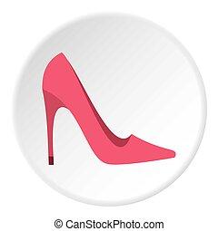 talon, rose, icône, élevé, chaussure, cercle