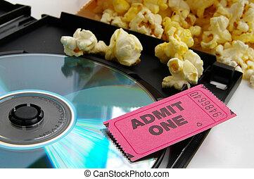 talon ticket, et, pop-corn, à, dvd, closeup
