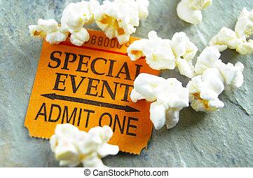 talon ticket, pour, événement spécial, à, pop-corn, encas