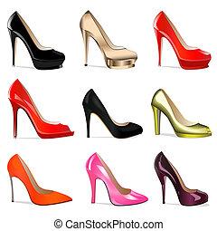 talones, conjunto, shoes, mujeres