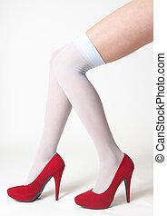 talons, bas, femme, jambes