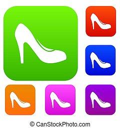 talons, femmes, ensemble, collection, chaussure