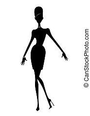 talons, silhouette, robe, court, mode, élevé, femme