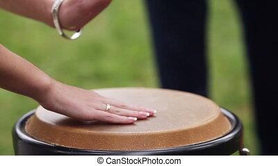 Tam-tam drum - Bride plays the African drum tam tam