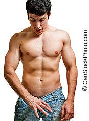 tamaño, el suyo, concepto, -, mirar, potencia, pene, hombre, pantalones