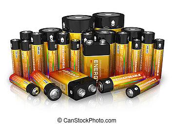tamaño, grupo, diferente, baterías