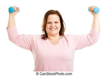 tamaño, mujer, sano, más, trabaja, afuera