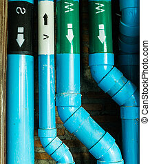 tamaño, pvc, tubos