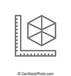 tamaños, línea, dimensional, productos, 3, modelado, icon., ...