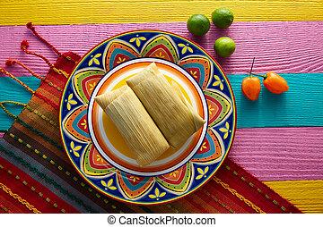 tamale, granaglie, messicano, foglie, tamales
