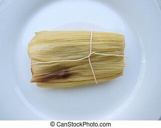 tamale, kellemes, amerikai, latin, élelmiszer
