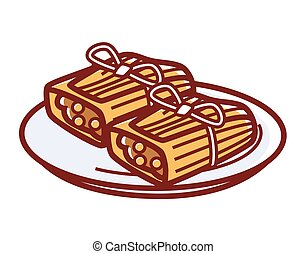 Tamales with meat filling on plate isolated illustration