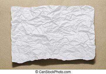 tamanho, branca, papel, amarrotado, a4