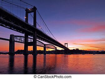 Tamar Bridge Silhouette - The Tamar Bridge built in 1961...