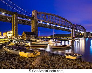 tamar, bruggen, op de avond, saltash, cornwall