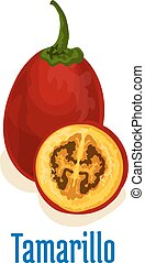 tamarillo, fruechte, emblem, ikone