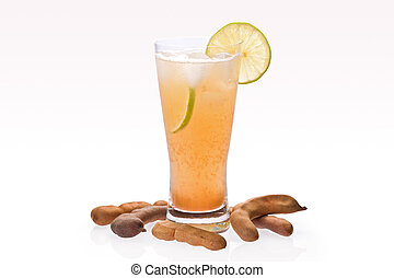 Tamarind Drink - Ice cold tamarind drink in glass with...