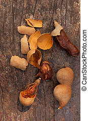 Tamarind fruit from above.