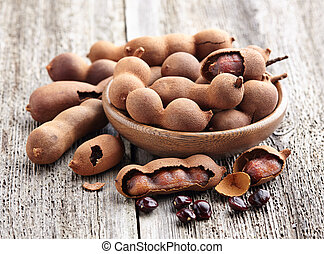 Tamarind fruit with seeds