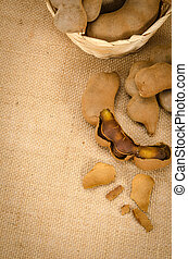 Tamarind - Image of tamarind on brown sack background