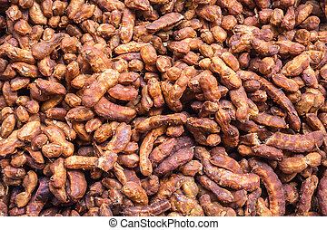 Tamarind peel for texture and food background - Top view...