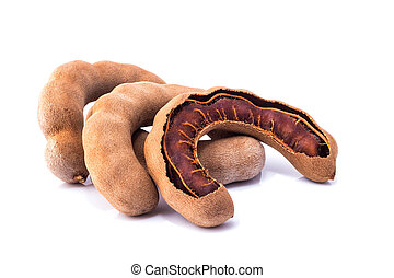 Tamarind - Sweet ripe tamarind with isolated on a white...