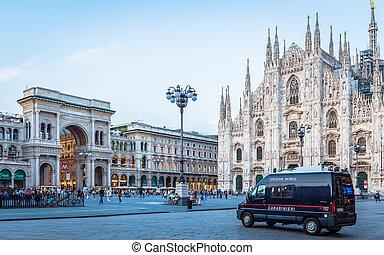 también, carabinieri, crimen, prevenir, coche, patrullar, ...