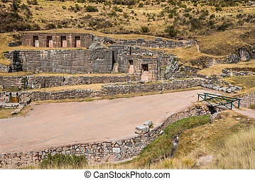 tambomachay, gruzy, peruwiański, andy, cuzco, peru