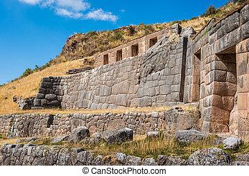 Tambomachay ruins peruvian Andes Cuzco Peru - Tambomachay,...