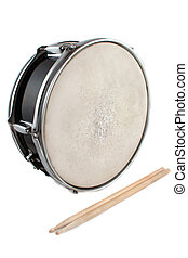 tambor, armadilha, drumsticks