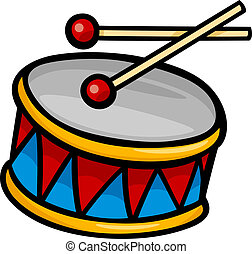 tambor, corte arte, caricatura, ilustração