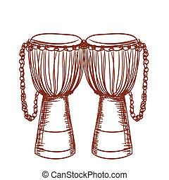 tambor, de madera, djembe, mano, africano, dibujado
