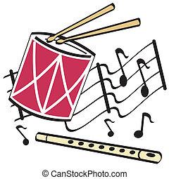 tambor, flauta, arte, clip