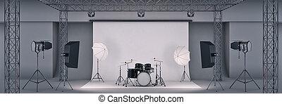 tambor, foto, set., fazendo, pretas, estúdio, 3d