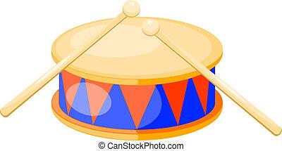 tambor, illustration., aislado, fondo., vector, blanco
