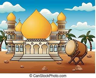 tambor, mubarak, islámico, mezquita, desierto, eid