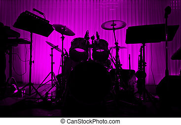 tambor, no, musician., silueta