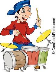 tambores, juego, ilustración, hombre