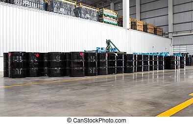 tambores, ligado, um, industrial, armazenamento, local