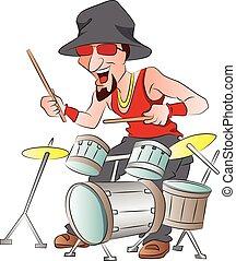 tambores, tocando, ilustração, homem