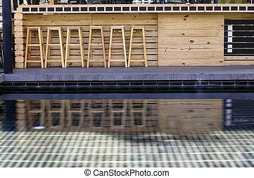 tamborete, madeira, barzinhos, piscina