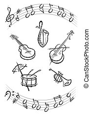 tambour, instruments, musique, trompette, guitare, saxo, noir, kontrabas