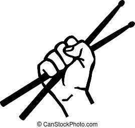 tambour main, bâtons