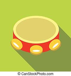 tambourine, ícone, apartamento, estilo