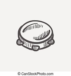 tambourine, esboço, ícone
