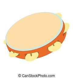 Tambourine icon, cartoon style