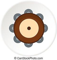 Tambourine icon circle