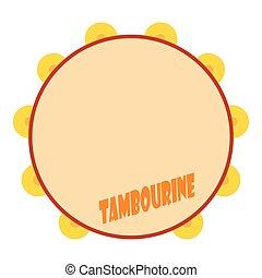 Tambourine icon, flat style